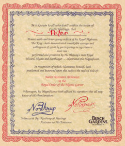 Enchanted Laboratory assistant certificate, circa 1995