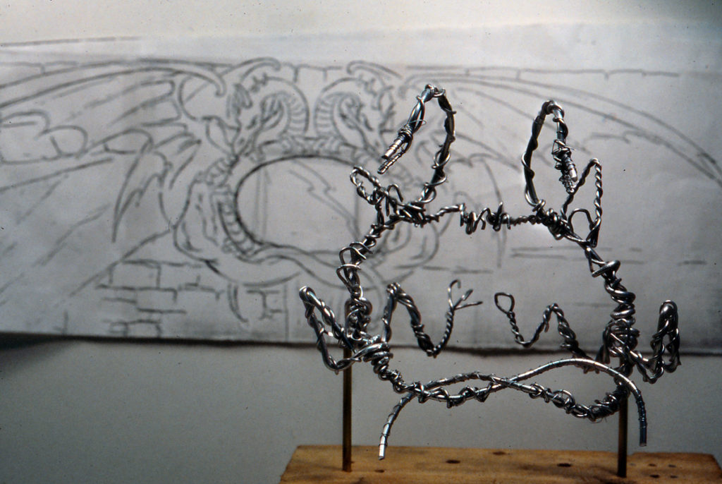 Dragon mirror frame armature and sketch (Photo courtesy of Terri Cardinali)