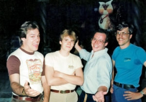 Installation and programming team, 1986 (Left to right: Ted King, Robert DeLapp, David Thornton, and Ed Ziegler)
